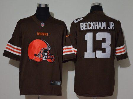 Men's Browns #13 Odell Beckham Jr. Brown Football Team Big Logo Fashion Vapor Untouchable Limited Jersey