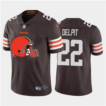 Men's Browns #22 Grant Delpit Brown Football Team Big Logo Fashion Vapor Limited Jersey