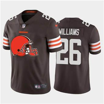 Men's Browns #26 Greedy Williams Brown Football Team Big Logo Fashion Vapor Limited Jersey