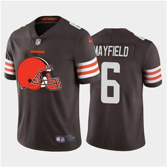 Men's Browns #6 Baker Mayfield Brown Football Team Big Logo Fashion Vapor Limited Jersey