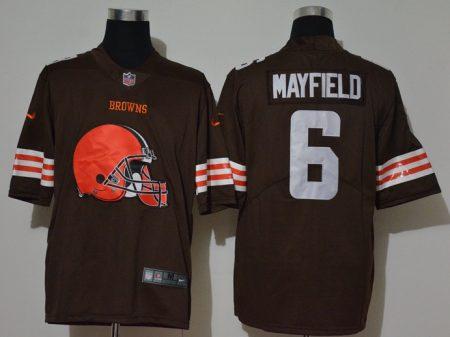 Men's Browns #6 Baker Mayfield Brown Football Team Big Logo Fashion Vapor Untouchable Limited Jersey