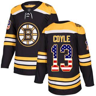 Men's Bruins #13 Charlie Coyle Black Home  USA Flag Stitched Hockey Jersey