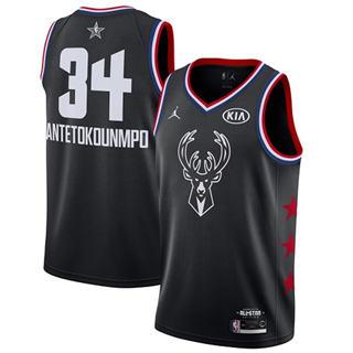 Men's Bucks #34 Giannis Antetokounmpo Black Basketball Jordan Swingman 2019 All-Star Game Jersey
