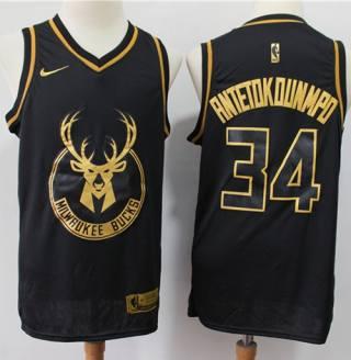 Men's Bucks #34 Giannis Antetokounmpo Black Gold Basketball Swingman Limited Edition Jersey
