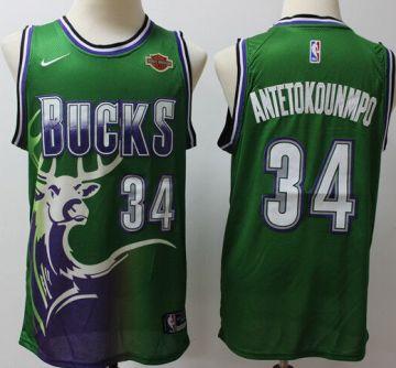 Men's Bucks #34 Giannis Antetokounmpo Green Throwback Basketball Jersey