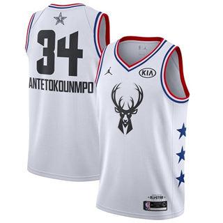 Men's Bucks #34 Giannis Antetokounmpo White Basketball Jordan Swingman 2019 All-Star Game Jersey