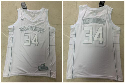 Men's Bucks #34 Giannis Antetokounmpo White Stitched MVP Edition Basketball Jersey