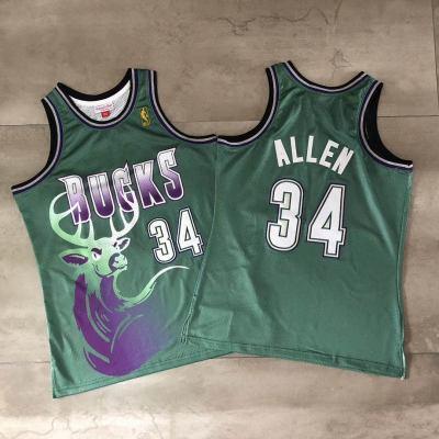 Men's Bucks #34 Ray Allen Green Throwback Stitched Hardwood Classics Basketball Jersey