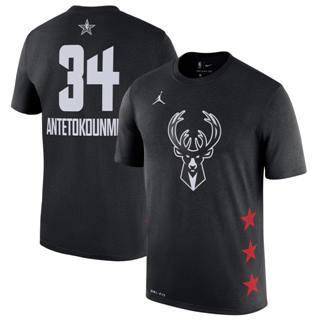 Men's Bucks 34 Giannis Antetokounmpo Black 2019 Basketball All-Star Game T-Shirt