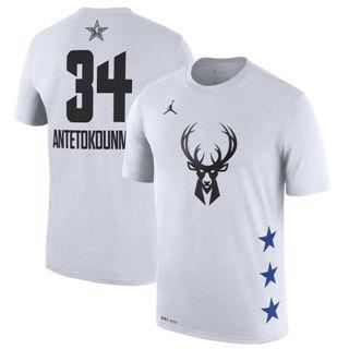Men's Bucks 34 Giannis Antetokounmpo White 2019 Basketball All-Star Game T-Shirt