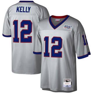 Men's Buffalo Bills #12 Jim Kelly Mitchell & Ness Football 100th Season Retired Player Platinum Jersey