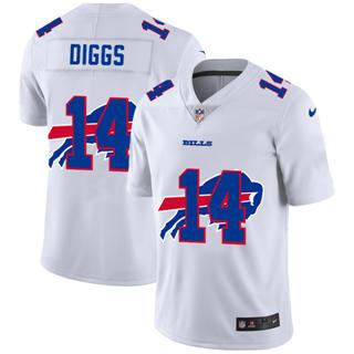 Men's Buffalo Bills #14 Stefon Diggs White Team Logo Dual Overlap Limited Football Jersey
