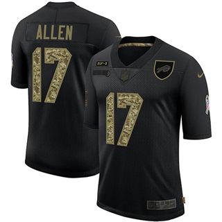 Men's Buffalo Bills #17 Josh Allen 2020 Salute To Service Black Camo Limited Football Jersey