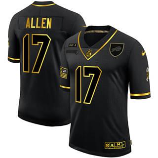 Men's Buffalo Bills #17 Josh Allen 2020 Salute To Service Black Golden Limited Football Jersey
