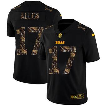 Men's Buffalo Bills #17 Josh Allen Black Flocked Lightning Vapor Limited Football Jersey