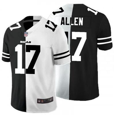 Men's Buffalo Bills #17 Josh Allen Black White Split 2020 Stitched Football Limited Jersey