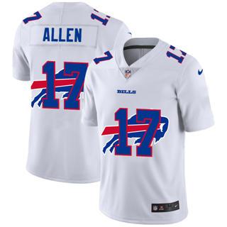 Men's Buffalo Bills #17 Josh Allen White Team Logo Dual Overlap Limited Football Jersey