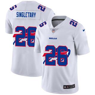 Men's Buffalo Bills #26 Devin Singletary White Team Logo Dual Overlap Limited Football Jersey