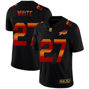Men's Buffalo Bills #27 Tre'Davious White Black Red Orange Stripe Vapor Limited Football Jersey