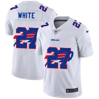 Men's Buffalo Bills #27 Tre'Davious White White Team Logo Dual Overlap Limited Football Jersey