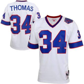 Men's Buffalo Bills #34 Thurman Thomas White Mitchell & Ness Throwback Stitched Football Jersey