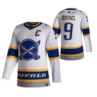 Men's Buffalo Sabres #9 Jack Eichel White 2020-21 Reverse Retro Alternate Hockey Jersey