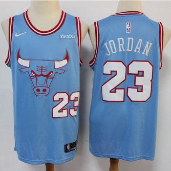 Men's Bulls #23 Michael Jordan Blue New 2019-2020 City Edition Swingman Basketball Jersey