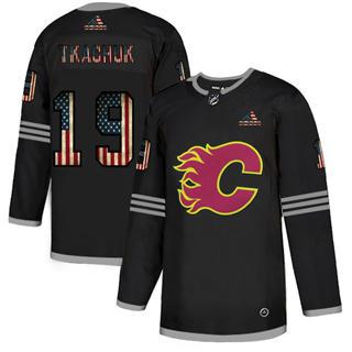 Men's Calgary Flames #19 Matthew Tkachuk Black USA Flag Limited Hockey Jersey