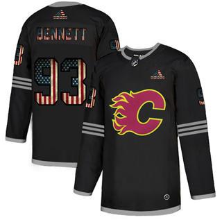 Men's Calgary Flames #93 Sam Bennett Black USA Flag Limited Hockey Jersey