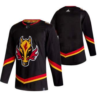 Men's Calgary Flames Blank Black 2020-21 Reverse Retro Alternate Hockey Jersey