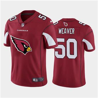 Men's Cardinals #50 Evan Weaver Red Football Team Big Logo Fashion Vapor Limited Jersey