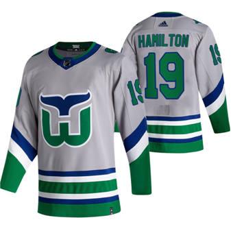 Men's Carolina Hurricanes #19 Dougie Hamilton Grey 2020-21 Reverse Retro Alternate Hockey Jersey