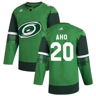 Men's Carolina Hurricanes #20 Sebastian Aho 2020 St. Patrick's Day Stitched Hockey Jersey Green