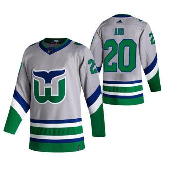 Men's Carolina Hurricanes #20 Sebastian Aho Grey 2020-21 Reverse Retro Alternate Hockey Jersey