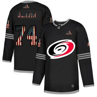 Men's Carolina Hurricanes #74 Jaccob Slavin Black USA Flag Limited Hockey Jersey