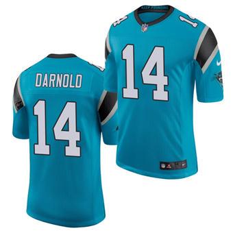 Men's Carolina Panthers #14 Sam Darnold Blue Stitched Jersey