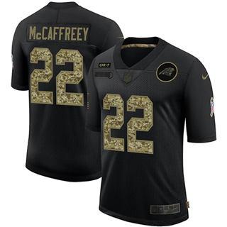 Men's Carolina Panthers #22 Christian McCaffrey 2020 Salute To Service Black Camo Limited Football Jersey