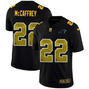 Men's Carolina Panthers #22 Christian McCaffrey Black Golden Sequin Vapor Limited Football Jersey