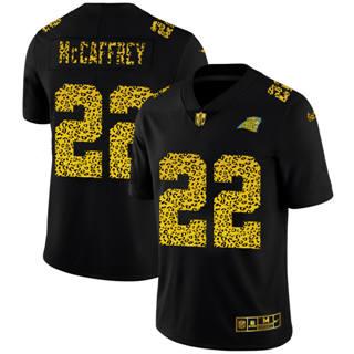 Men's Carolina Panthers #22 Christian McCaffrey Black Leopard Print Fashion Vapor Limited Football Jersey
