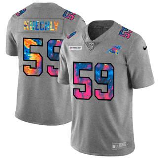 Men's Carolina Panthers #59 Luke Kuechly Multi-Color Greyheather 2020 Crucial Catch Football Jersey
