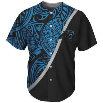 Men's Carolina Panthers Blue Black Baseball Jersey