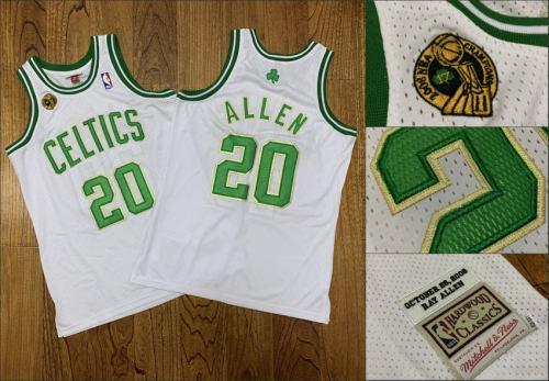 Men's Celtics #20 Ray Allen White 2007-08 Champions Patch Stitched Hardwood Classics Jersey