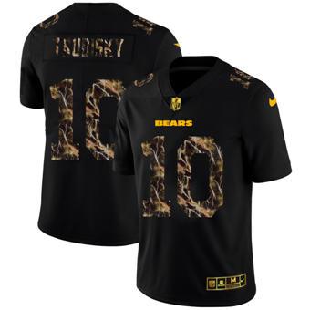 Men's Chicago Bears #10 Mitchell Trubisky Black Flocked Lightning Vapor Limited Football Jersey