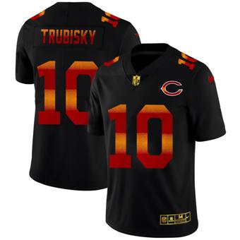 Men's Chicago Bears #10 Mitchell Trubisky Black Red Orange Stripe Vapor Limited Football Jersey