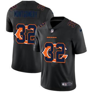 Men's Chicago Bears #32 David Montgomery Team Logo Dual Overlap Limited Football Jersey Black