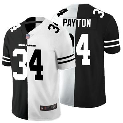 Men's Chicago Bears #34 Walter Payton Black White Split 2020 Stitched Football Limited Jersey