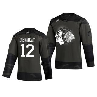 Men's Chicago Blackhawks #12 Alex Debrincat 2019 Veterans Day Authentic Practice Hockey Jersey Camo