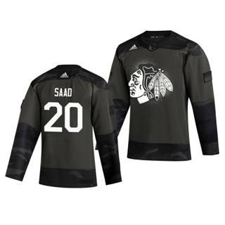 Men's Chicago Blackhawks #20 Brandon Saad 2019 Veterans Day Authentic Practice Hockey Jersey Camo