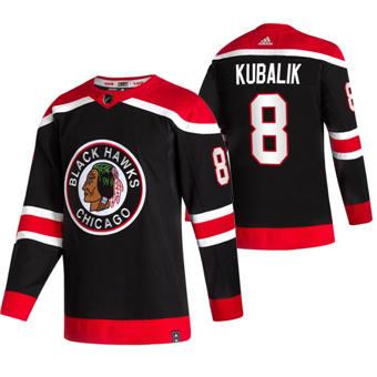 Men's Chicago Blackhawks #8 Dominik Kubalik Black 2020-21 Reverse Retro Alternate Hockey Jersey