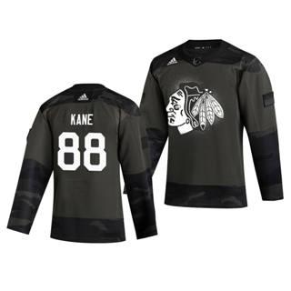 Men's Chicago Blackhawks #88 Patrick Kane 2019 Veterans Day Authentic Practice Hockey Jersey Camo